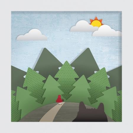 little red riding hood: Un stilizzato strati di carta ritaglio illustrazione della Little Red Riding Hood storia Nota Questo file � EPS10 Utilizza lucidi, gradiente di maglia, e le maschere di ritaglio Vettoriali