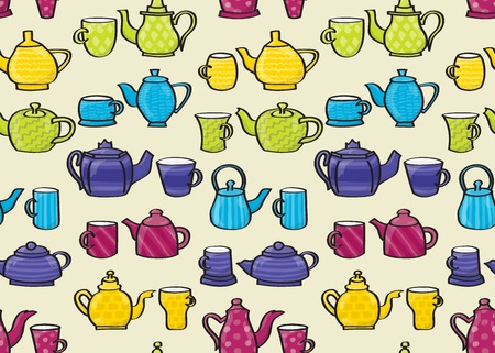 Set of cartoon style patterned teapots and matching mugs seamless background tile.  Please note: This file is EPS10 and uses transparencies.