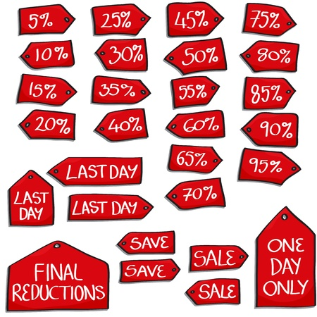 Set of Cartoon Style hand drawn sales tags with hand written text  Set includes  individual Percentage Off tags from 5  to 95 ; One Day Only tag; Final Reductions tag; 2 Sale tags; 2 Save tags; 3 Last Day tags  Illustration