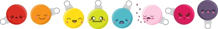 annoy: Set of 8 super cute Kawaii style Christmas baubles with different expressions