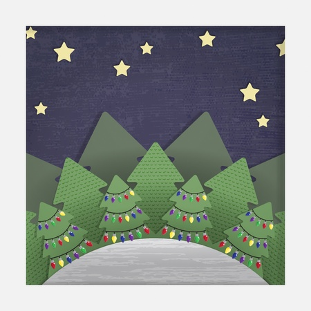 A stylized layered paper cut-out Christmas illustration of a forest at night, the trees decorated with fairy lights   Please note  This file is EPS10 and uses transparencies, gradient mesh and clipping masks Stock Vector - 21458033