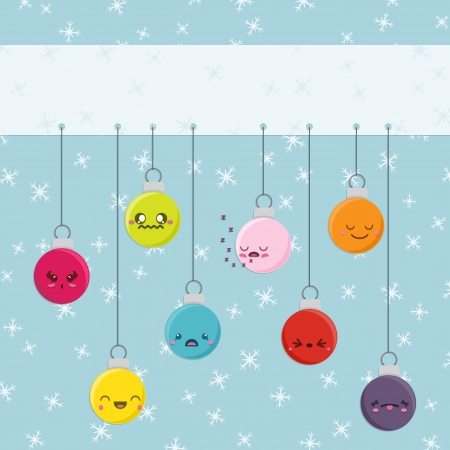Set of 8 super cute Kawaii style Christmas baubles with different expressions hanging from a banner with space for your text   This vector file is EPS10 and uses transparencies  Illustration