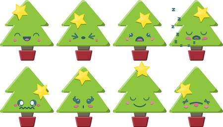 annoying: Set of 8 super cute Kawaii style Christmas Trees with different expressions  Illustration