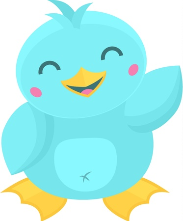 Cute Cartoon Kawaii Style Bird Waving Vector