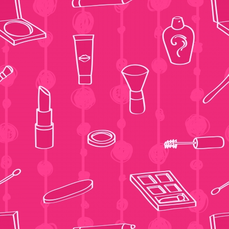 emery: Seamless background tile with outlined cartoon style cosmetics on a pink background