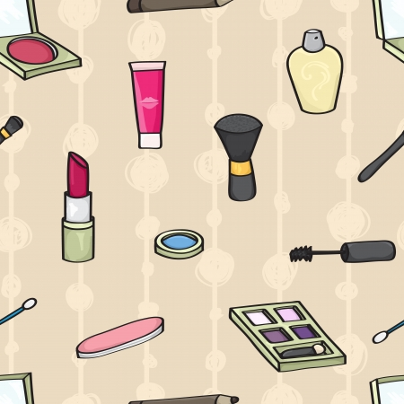 emery: Seamless background tile with cartoon style cosmetics on a beige background   Illustration