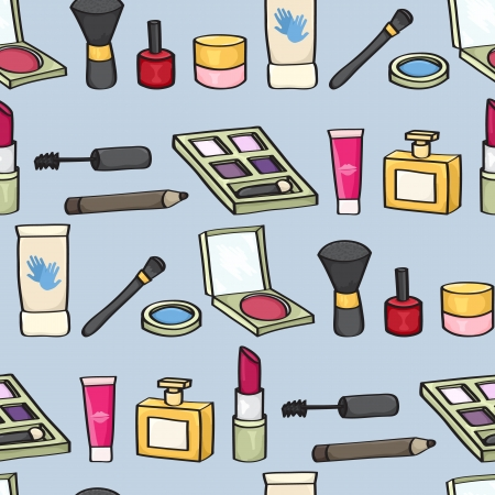 blush: Seamless background tile with cartoon style cosmetics on a blue background  Illustration
