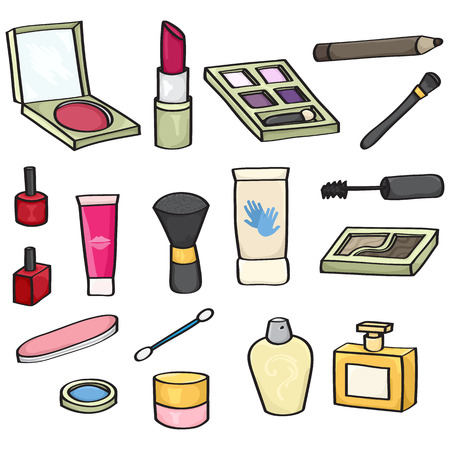 Set of 18 cartoon cosmetics for use in your designs  Set includes  blusher, lipstick, eye shadow, mascara wand, makeup brushes, eye liner pencil, nail varnish, lip gloss, hand cream, perfume, baby bud, and nail file. Vector