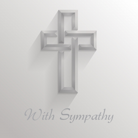 "Square card with a 3d shadowed cross and text reading ""With Sympathy""   Please note  this file is EPS10 and uses transparencies"