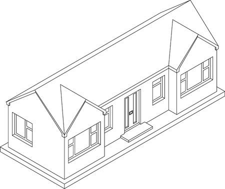 perspectiva lineal: 3d dibujo de línea isométrica de una doble fachada única casa de dos pisos de bungalows
