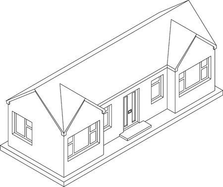 single story: 3d isometric line drawing of a double fronted single story house bungalow Illustration
