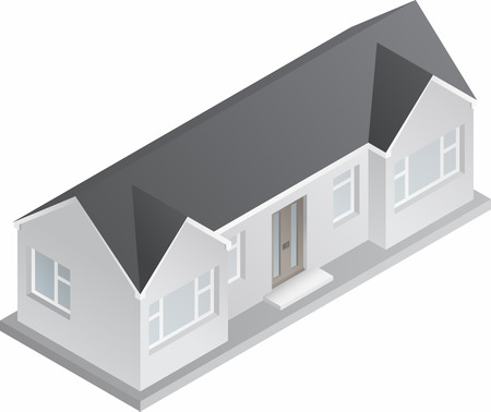detached house: 3d isometric drawing of a double fronted single story house bungalow   Illustration