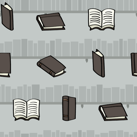 hardback: Seamless background tile with cartoon books and simple bookshelves behind