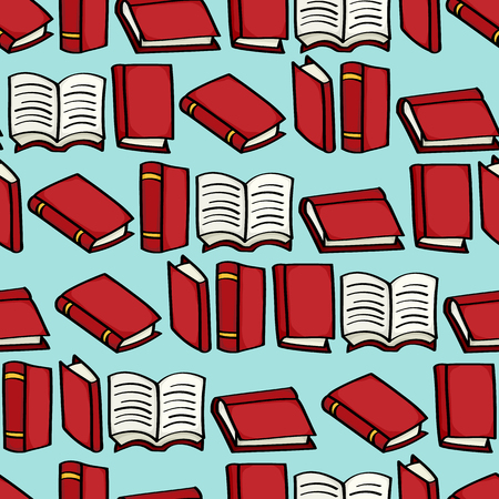 hardback: Seamless background tile with red cartoon books Illustration