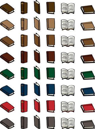 libro caricatura: Set de 6 libros de dibujos animados diferentes en 8 diferentes esquemas de color para el uso en su diseño