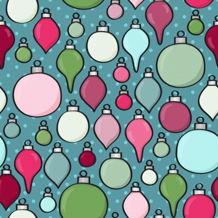 polkadot: Seamless background tile with cartoon baubles over a polkadot design   This file is Vector EPS10 and uses transparencies  Illustration