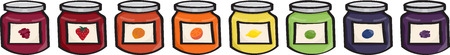 jams: Set of 8 different flavors of cartoon jams and jellys  strawberry, raspberry, orange marmalade, apricot, lemon, lime, blueberry and blackberry   This file is Vector EPS10 and uses transparencies