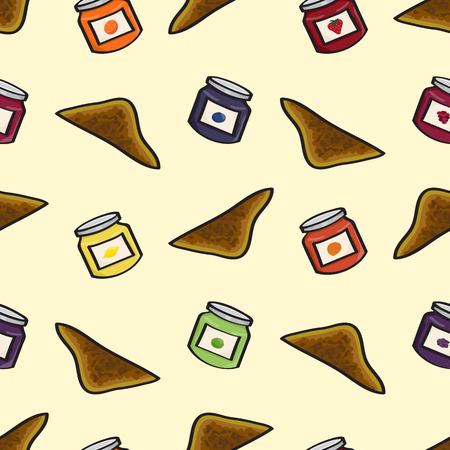 Seamless background tile featuring cartoon toast and pots of jelly or jam    Vector