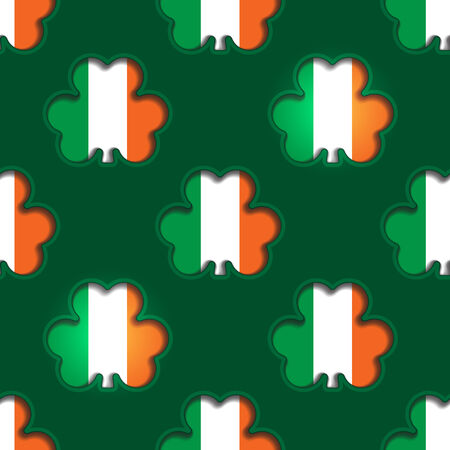 Seamless background tile with cutout shamrocks showing the Irish flag beneath for  St Patrick%u2019s day designs  Vector