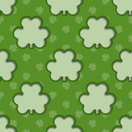 Seamless background tile with cutout shamrocks and shamrock pattern  Vector