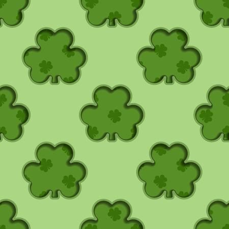 shamrock seamless: Seamless background tile with cutout shamrocks and shamrock pattern
