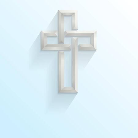 memorial cross: Cruz de estilo celta 3d sobre un fondo degradado azul con espacio para el texto