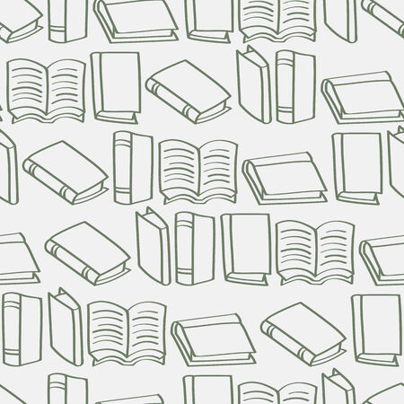 hardback: A seamless background tile with outlined cartoon books pattern         Illustration