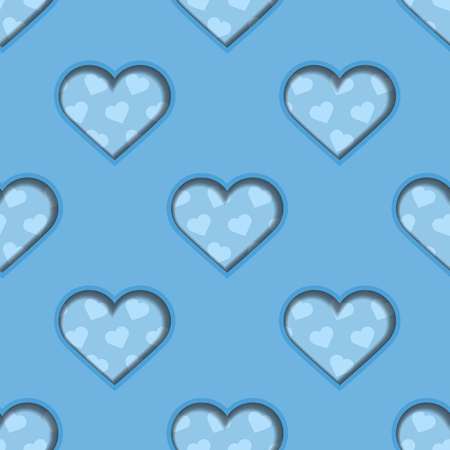 Seamless background tile with 3d cut out heart effect and heart polkadots in blue color scheme.   Vector