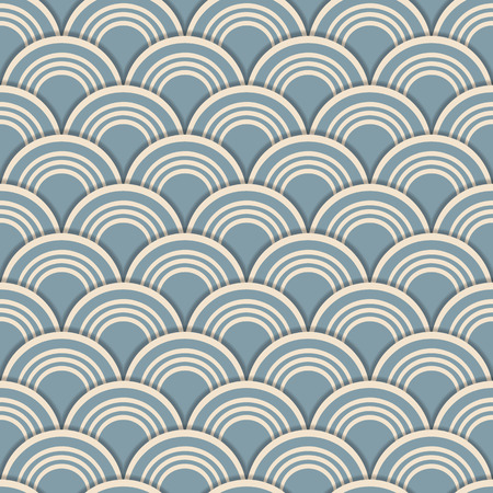Japanese style scale seamless background tile with 3d layered effect.      Illustration