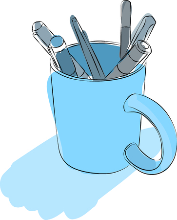 pencil holder: Sketched line drawing with color fill of a mug holding pens. Illustration