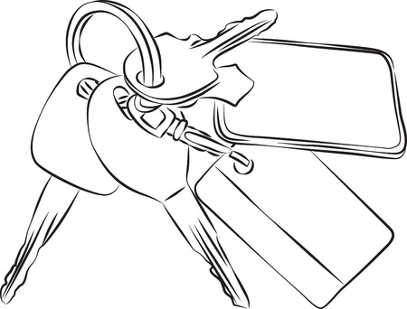 doorkey: Sketched line drawing of a set of keys on a keyring or keychain