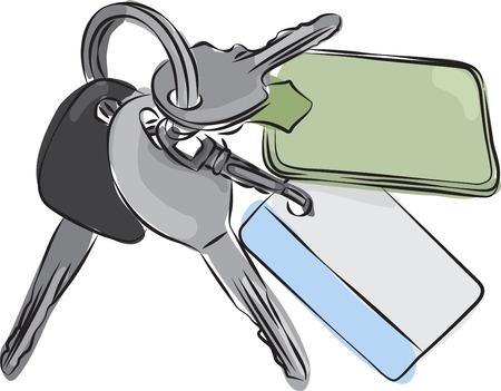 keyring: Sketched line drawing of a set of keys on a keyring or keychain