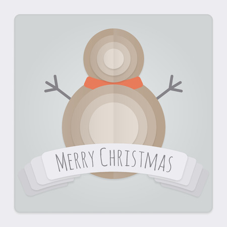 Square Christmas card with a 3d layered and folded paper Snowman design and a banner with a Merry Christmas Message Vector
