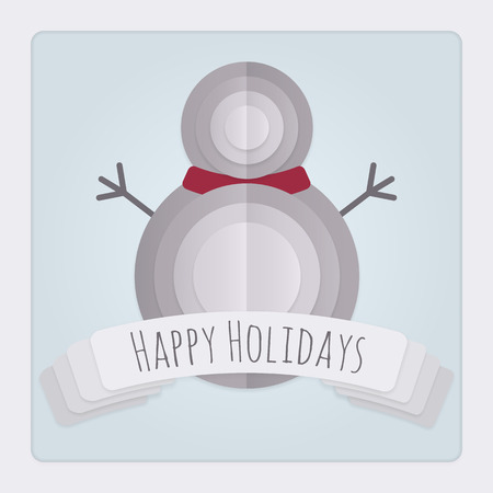 three layered: Square Christmas card with a 3d layered and folded paper Snowman design and a banner with a Happy Holidays Message