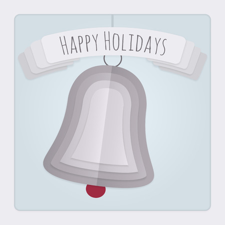 ding dong: Square Christmas card with a 3d layered and folded paper Bell design and a banner with a Happy Holidays Message