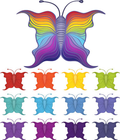 Set of cartoon butterflies in 12 different color schemes plus a rainbow winged version Stock Vector - 29432483