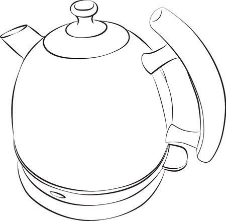 electric kettle: Sketched line drawing of a modern electric kettle.