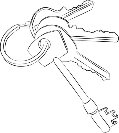 doorkey: Sketched line drawing of a set of four keys on a keyring or keychain.