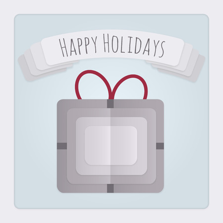 Square Christmas card with a 3d layered and folded paper present design and a banner with a Happy Holidays Message.            Vector