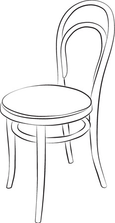 Sketched line drawing of a chair with a red fabric seat. Vector