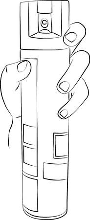 exterminate: Un dibujo boceto de una mano sosteniendo una lata de spray de volar