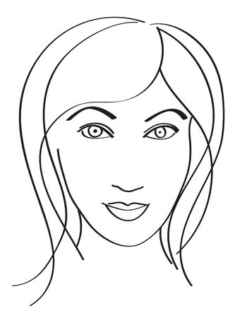 simple line drawing: Simple line drawing of a Woman face