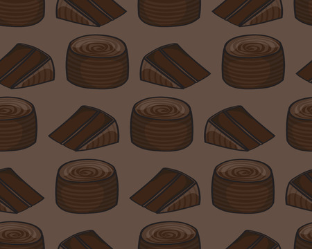 fudge: Seamless background tile with a cartoon chocolate cake pattern.This file is Vector EPS10 and uses a clipping mask and transparencies. Illustration
