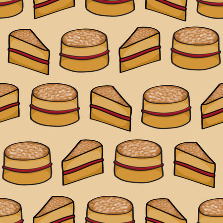 victoria: Seamless background tile with a cartoon Victoria Sponge cake pattern.This file is Vector EPS10 and uses a clipping mask and transparencies.
