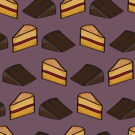 fudge: Seamless background tile with cartoon chocolate and sponge cake slices pattern.This file is Vector EPS10 and uses a clipping mask and transparencies.