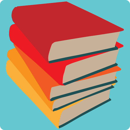 hardback: A square icon with a simple illustration of stacked books.  This file is Vector EPS10. Illustration