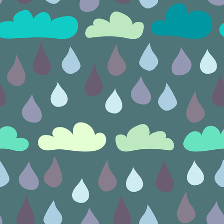 Seamless background tile with retro cartoon clouds and raindrops pattern.  Illustration