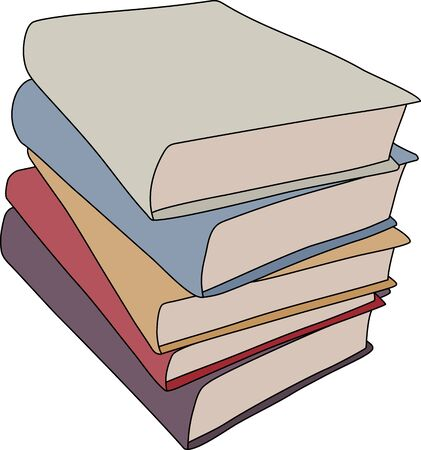 hardback: A simple cartoon style drawing of a stack of books.  This file is Vector.