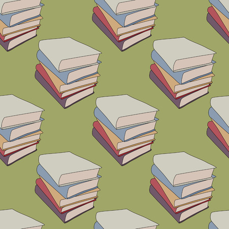 hardback: Seamless background tile with a pattern of cartoon style stacked books.  This file is Vector and uses a clipping mask.