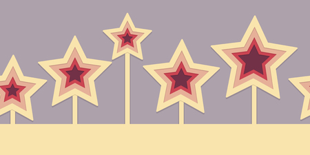 three layered: Seamless border with 3d effect cut-out stars pattern.  This file is Vector and uses transparency and clipping mask.